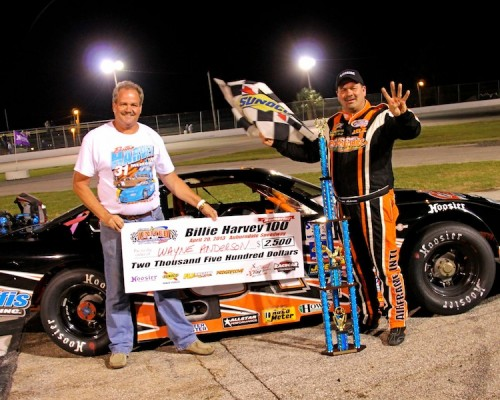 New OSW GM Jimbo Chadwick in victory lane with Wayne Anderson following this years