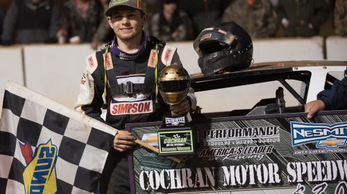 P.W. Williams of Dublin, GA celebrates his first career NeSmith Chevrolet Dirt Late Model Series win on Saturday night at Cochran Motor Speedway in Cochran, GA driving the Dublin Tire TNT in Round 7 of the 2016 RockAuto.com Winter Shootout.  (NeSmith Media Photo by Bruce Carroll)
