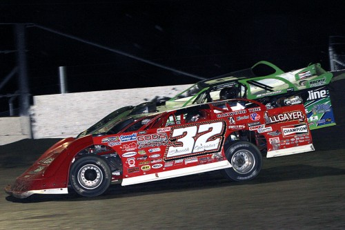 Bobby Pierce holds off Brandon Sheppard for win at Tri-State Speedway – Jim Denhamer Photo