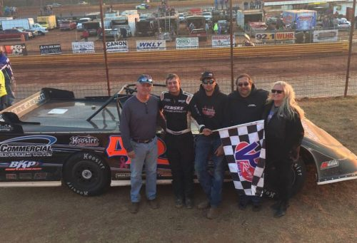 Cla Knight of North Augusta, SC celebrates winning the 2016 Fastrak Pro Late Model Series Southeast National Championship after driving the Augusta Aquatics Longhorn to a second-place finish behind winner Trent Ivey of Union, SC on Sunday afternoon in the Georgia State Championship Race at Lavonia Speedway in Lavonia, GA.  Knight also won the Fastrak Pro Dirt Late Model Series Mid-Ohio Valley Championship earlier this year.  Knight made history by becoming the first driver to win two championship in the same year in the 14-year history of Fastrak.  (Photo Courtesy of Cla Knight Racing